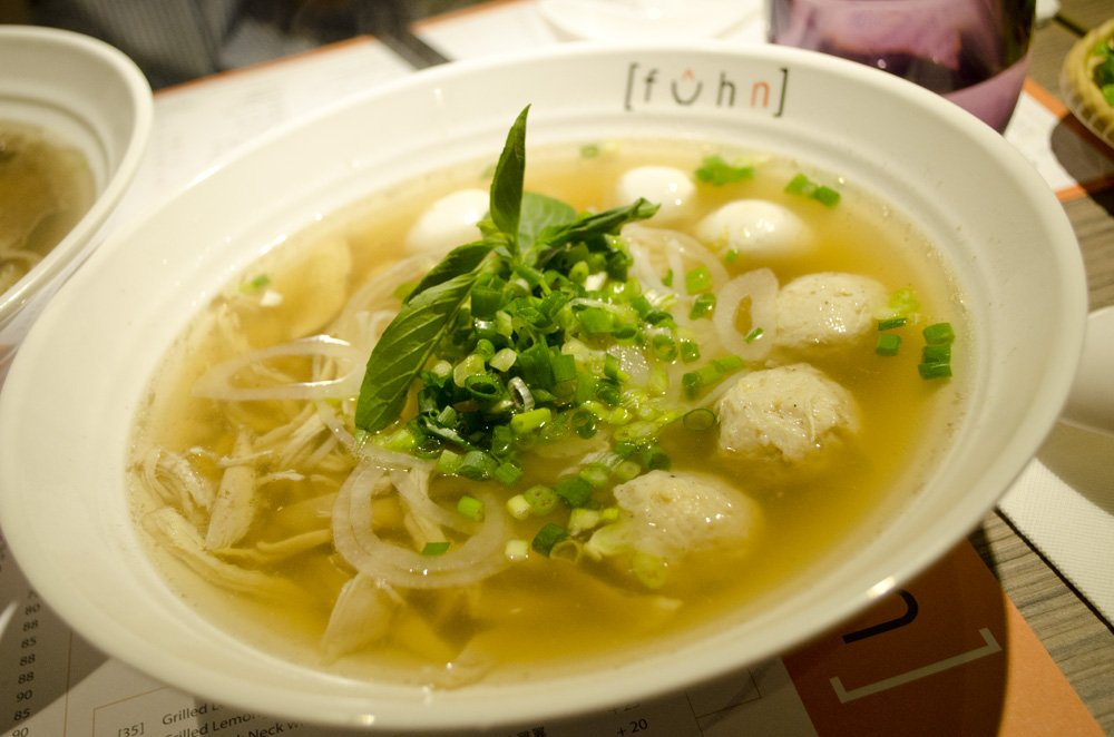 Fuhn restaurant's special chicken pho. humidwithachanceoffishballs.com