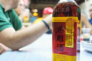Chinese hua diao wine on our seafood sampan tour
